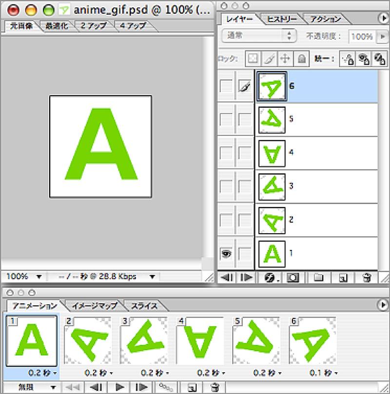 Adobe PhotoshopでアニメーションGIFを作る場合は、 レイヤー毎に各コマの画像を作り、 Adobe ImageReadyで編集、保存する。