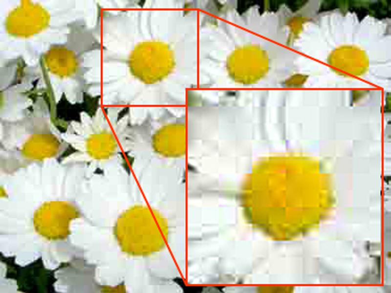 ノイズの例:ブロックノイズ(block noise) 画像を矩形に区切って圧縮するために発生するノイズ