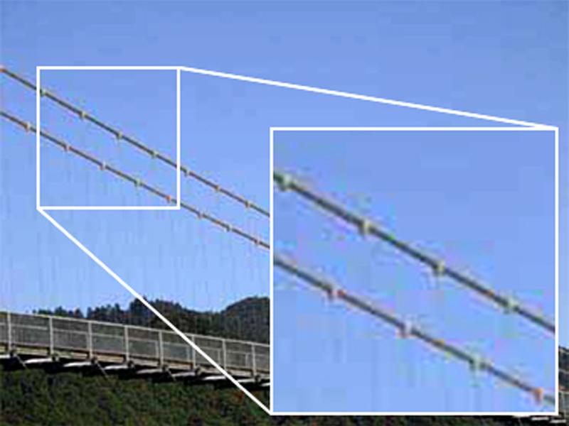 ノイズの例:モスキートノイズ(mosquito noise) 階調が急激に変化する部分で見られるノイズ
