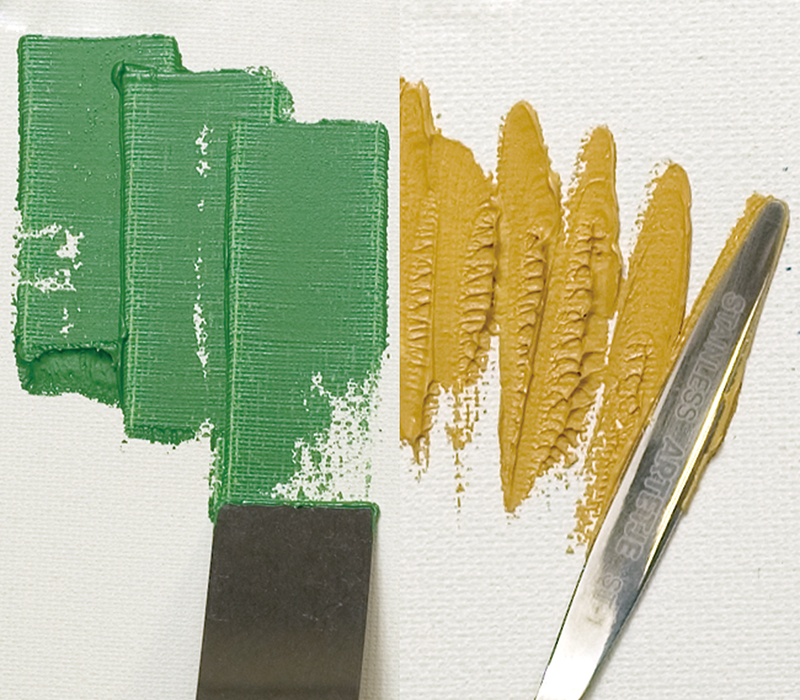 形状の異なるナイフによる描画