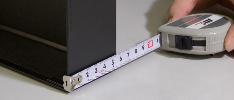 外法(そとのり)を測る (引っかけて測る)