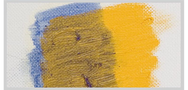 固化した絵具(イエロー)の上から、乾性油等 で溶いた絵具(ブルー)を重ね塗りした場合