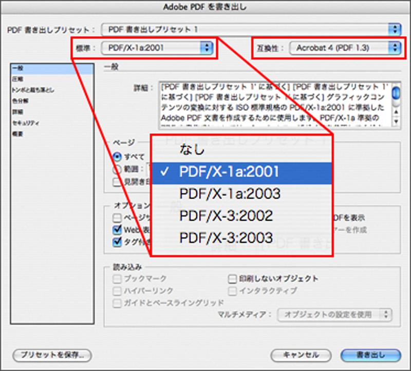 Adobe InDesignからPDFを書き出す画面。 Adobe Illustratorなどでも設定項目はほぼ共通である。 「一般」では、基本的な設定を行う。 PDF/Xに準拠する場合には「標準」から規格を選択する。 PDF/Xとは印刷を目的としたPDFのサブセットであり、 安定した出力を行うために不必要な機能を省いたものである。 印刷会社への入校にはPDF/X-1aが現在の標準だろう。 「互換性」では対象とするAdobe Acrobatや Adobe Readerのヴァージョンを選択する。 その他、ページ全てを書き出すか部分的に書き出すか、 見開きとして書き出すか、などの設定が行える (印刷会社への入校の際には、単ページで書き出す)。