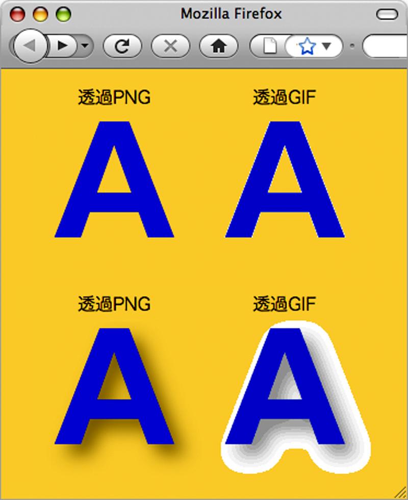 透過PNGは滑らかな透明画像の作成が可能。 透過GIFは特定の1色を透明にできるのみなので、上図右のように境界に他の色が見えてしまうことがある。 PNGはアルファチャンネル(透明度情報)が扱えるため、下図左のような透過図版も作成できる。 Internet Explorer 6が未対応なので、利用の場合には対策が必要である。