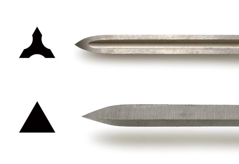 刃の断面図と拡大写真
