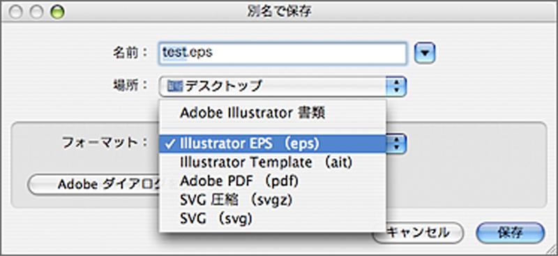 Adobe IllustratorからEPSで保存する画面。 Adobe IllustratorからはPDFでも保存することができるが、EPSもPDFもPostScriptという技術がベースとなっている。