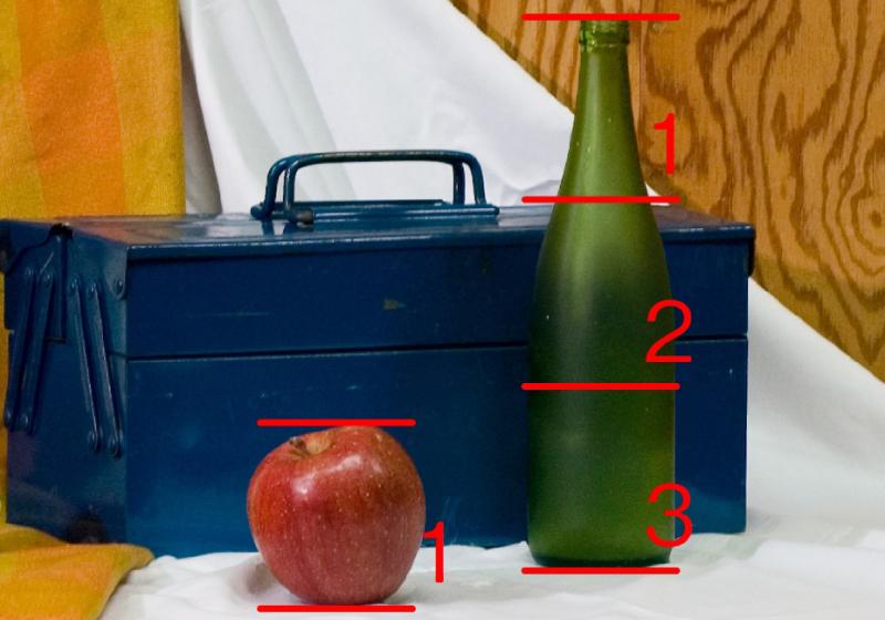 手順6. ビンの高さは、リンゴ3つ分相当であることが確認できます。