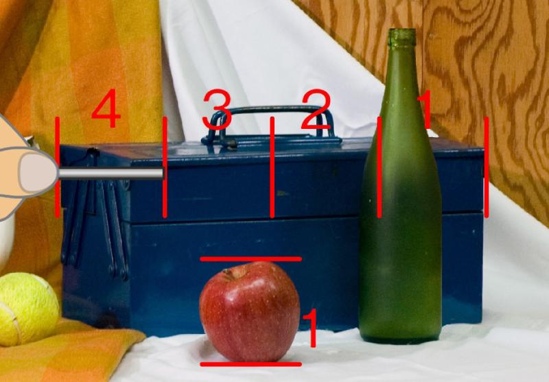手順8. 工具箱の幅は、リンゴ4つ分相当であることが確認できます。