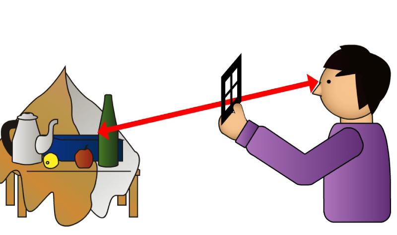 手順1. スケールは垂直に持ち、片方の目で窓を通してモチーフを観察し、適切な構図を探します。決まったら、モチーフと作者の目線との距離は一定に保ちます。