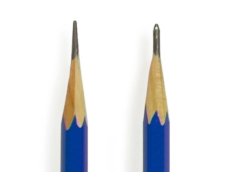 鉛筆の硬度により芯の長さや尖らせ方を調整しましょう
