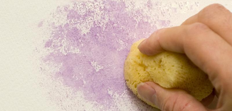 海綿で砂目のような効果をつくる